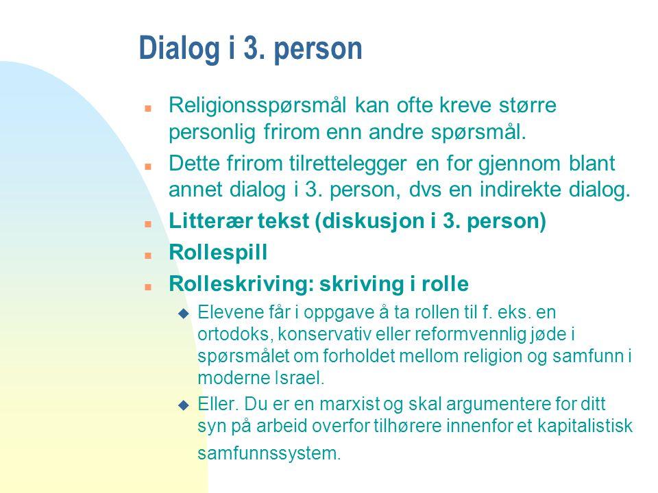 Dialog i 3. person Religionsspørsmål kan ofte kreve større personlig frirom enn andre spørsmål.