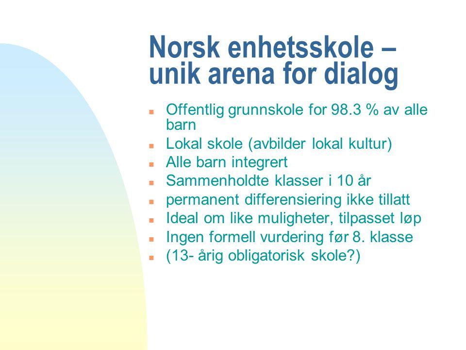 Norsk enhetsskole – unik arena for dialog