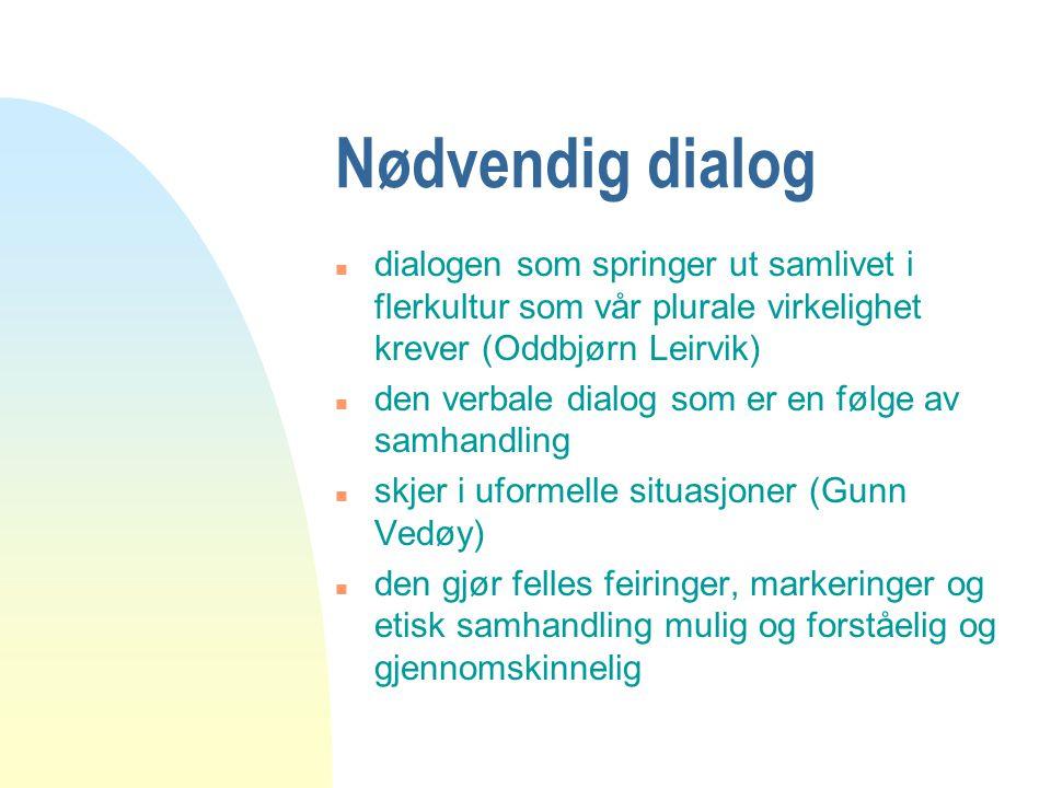 04.04.2017 Nødvendig dialog. dialogen som springer ut samlivet i flerkultur som vår plurale virkelighet krever (Oddbjørn Leirvik)