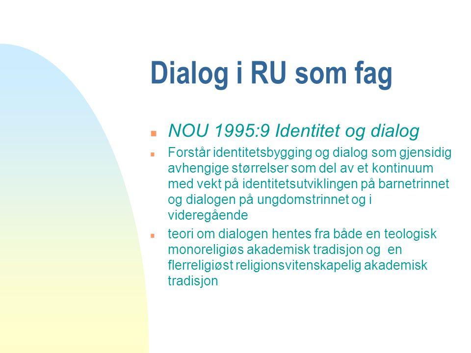 Dialog i RU som fag NOU 1995:9 Identitet og dialog