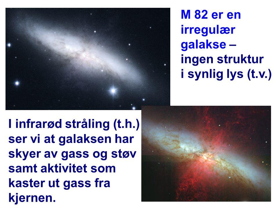 I infrarød stråling (t.h.) ser vi at galaksen har