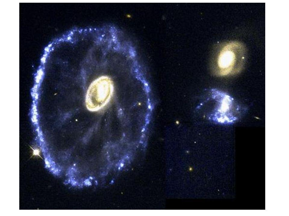 Cartwheel (kjerrehjul) galaksen er eksempel på en galakse som har kollidert. Kollisjonen har varmet opp kjernen i galaksen slik at den lyser sterkt og laget en ringformet trykkbølge som har bredt seg utover som ringer i vannet. Tykkbølgen komprimerer gassen i galaksen og man har endt opp med en ring av områder hvor det foregår sterk nydannelse av stjerner. Slike områder kalles starburst områder. Starburst betyr at mange nye stjerner dannes raskt i et lite område. Kollisjonene kan også spre gassen i galaksene og dra den ut i det intergalaktiske rommet.