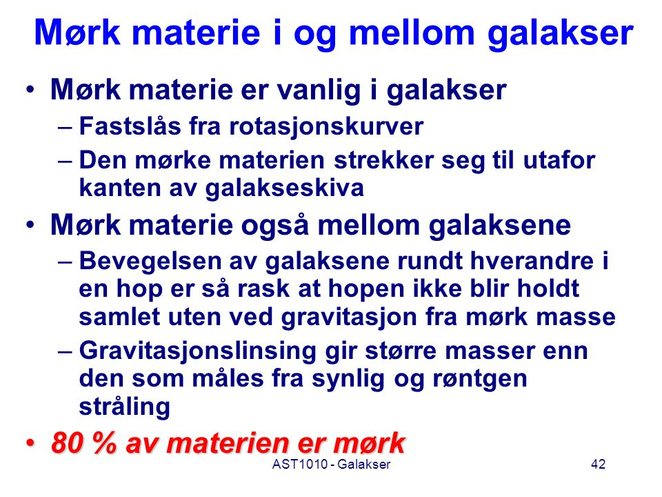 Mørk materie i og mellom galakser