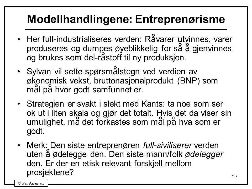 Modellhandlingene: Entreprenørisme