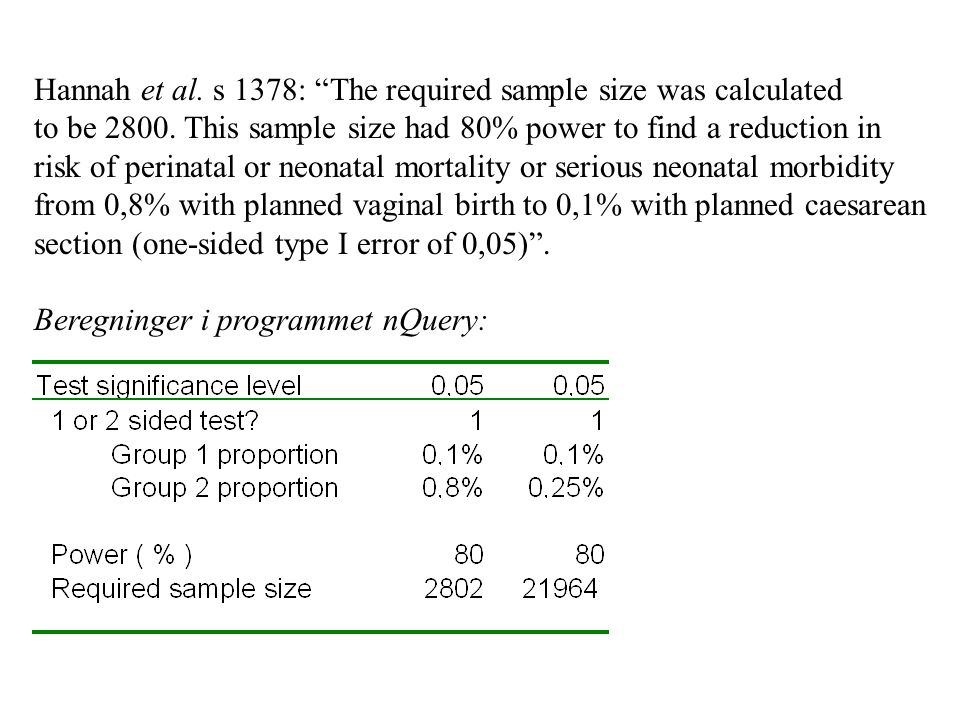 Hannah et al. s 1378: The required sample size was calculated to be 2800. This sample size had 80% power to find a reduction in risk of perinatal or neonatal mortality or serious neonatal morbidity from 0,8% with planned vaginal birth to 0,1% with planned caesarean