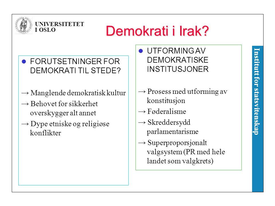 Demokrati i Irak UTFORMING AV DEMOKRATISKE INSTITUSJONER