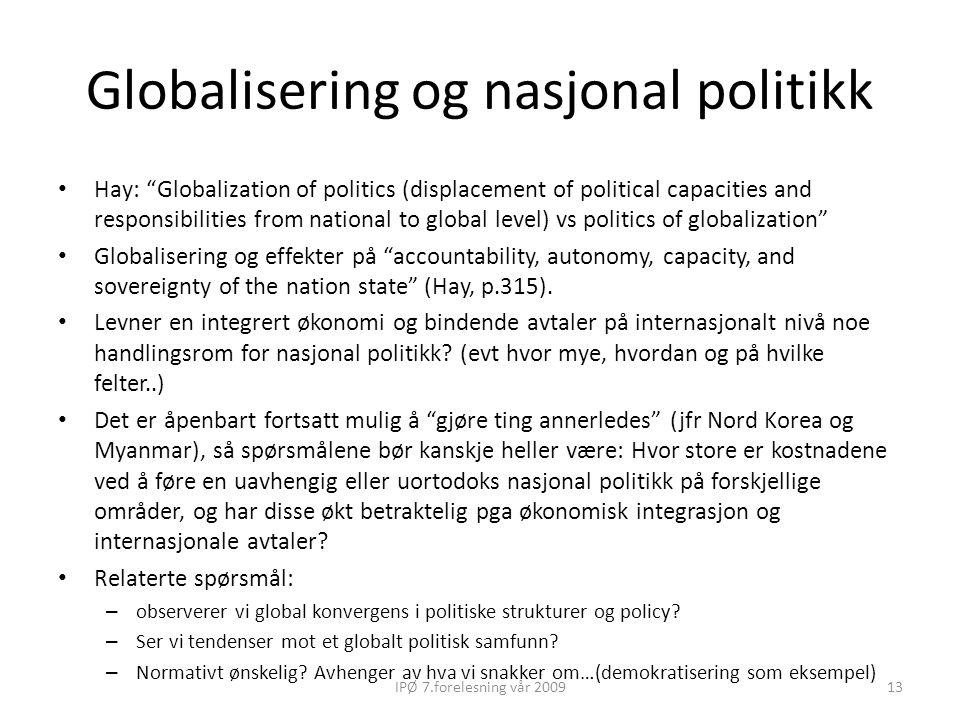 Globalisering og nasjonal politikk