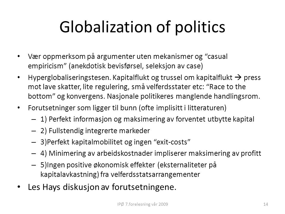 Globalization of politics