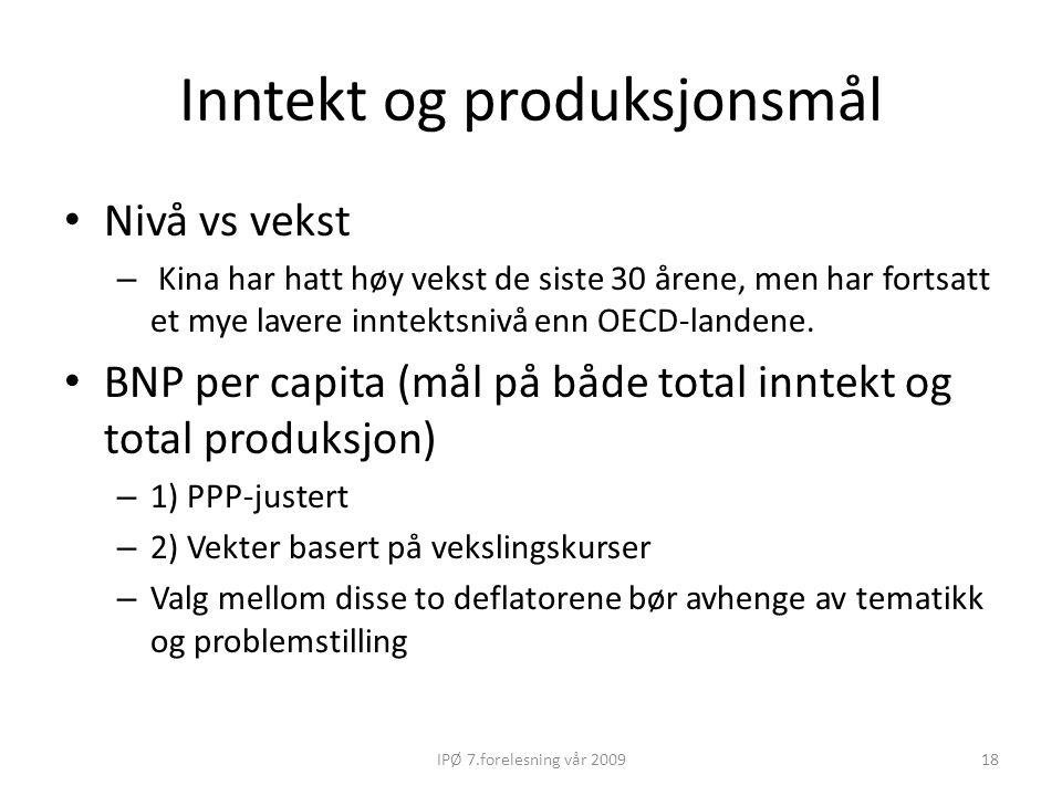 Inntekt og produksjonsmål
