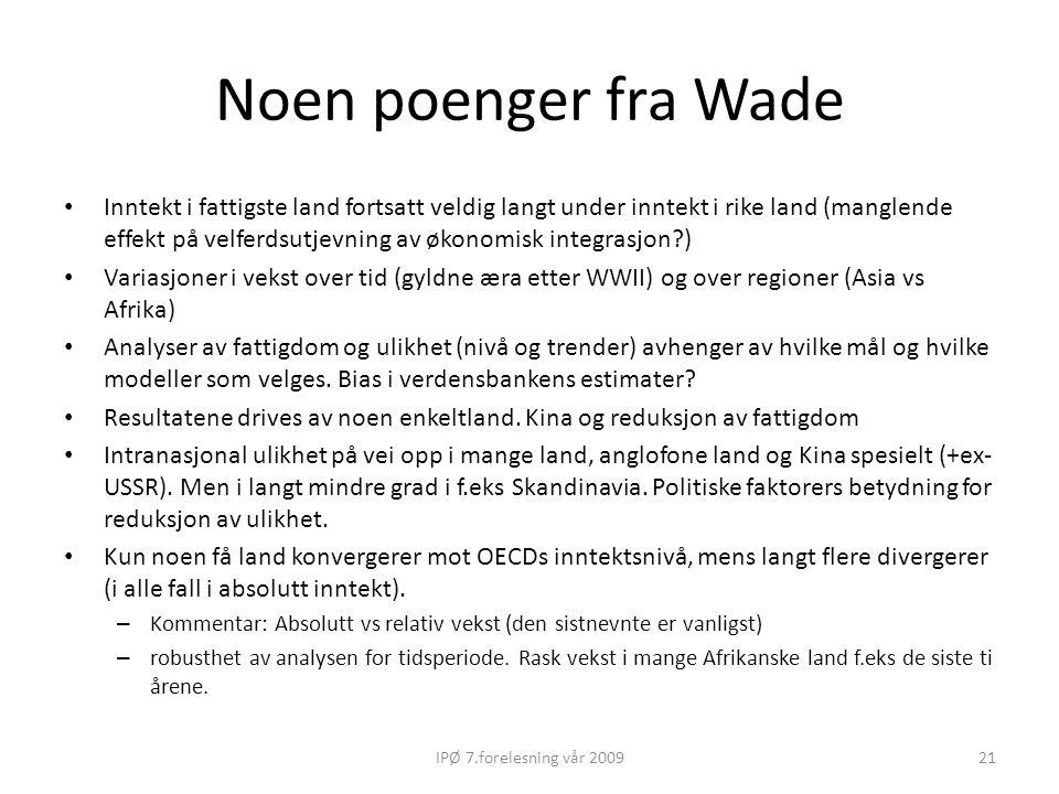 Noen poenger fra Wade