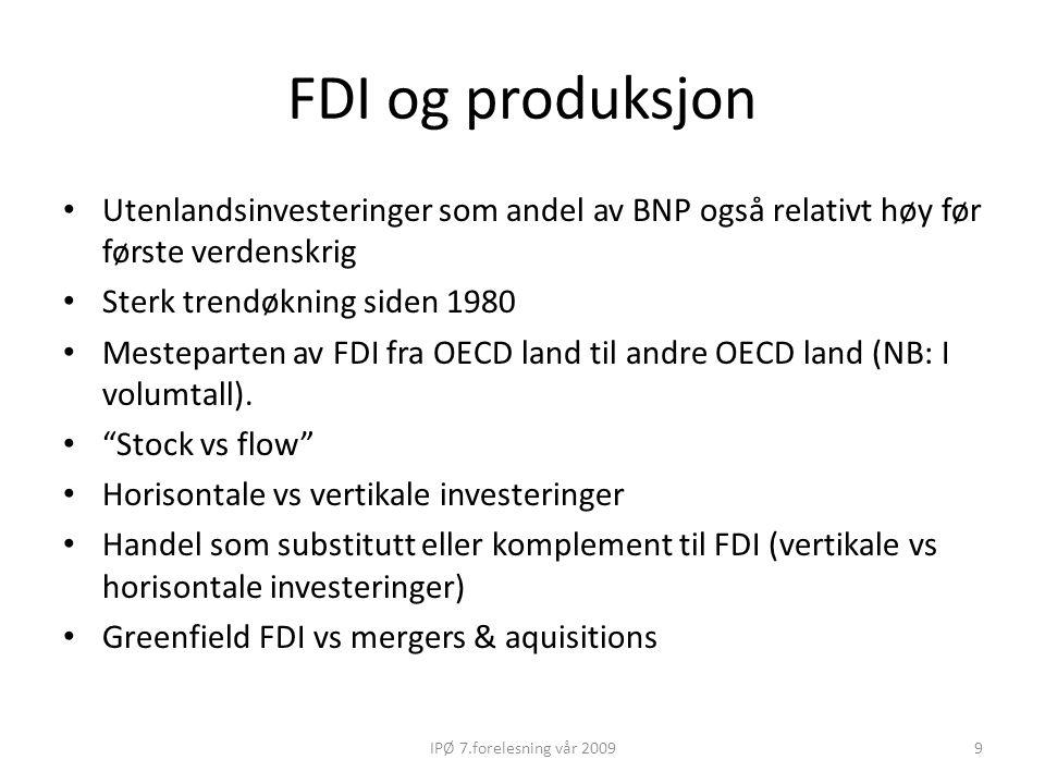 FDI og produksjon Utenlandsinvesteringer som andel av BNP også relativt høy før første verdenskrig.