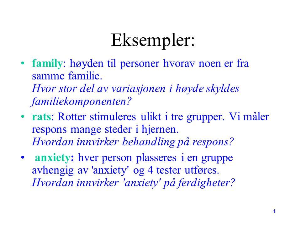 Eksempler: family: høyden til personer hvorav noen er fra samme familie. Hvor stor del av variasjonen i høyde skyldes familiekomponenten