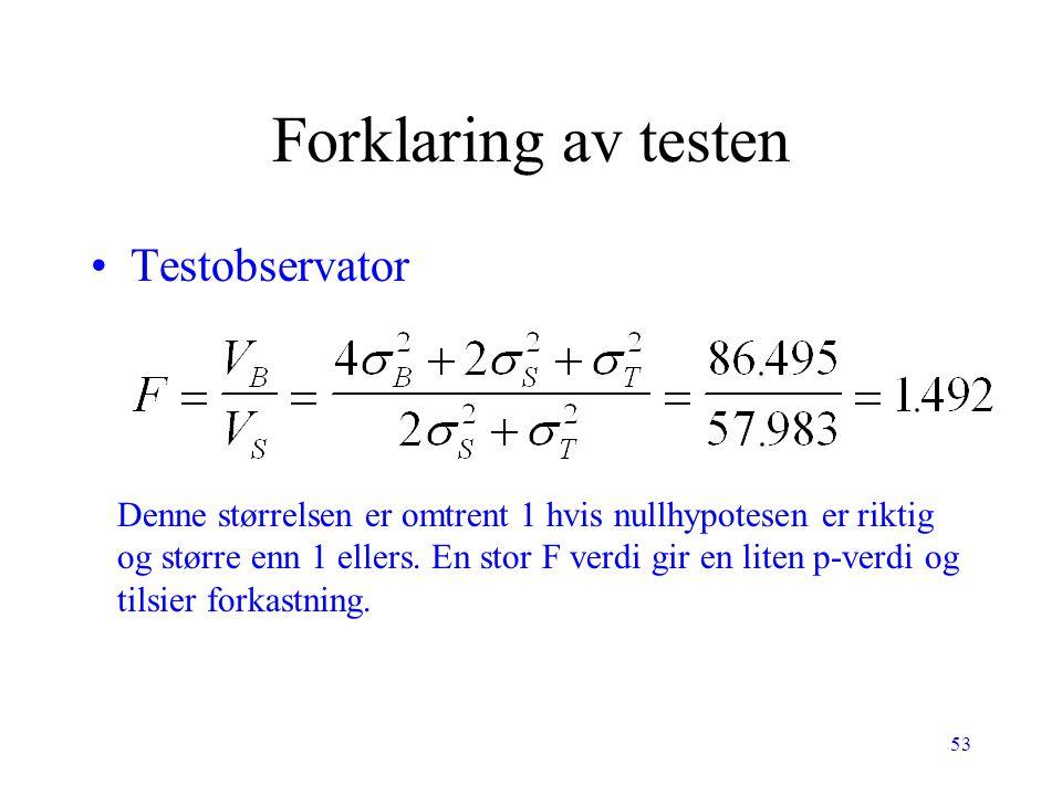Forklaring av testen Testobservator