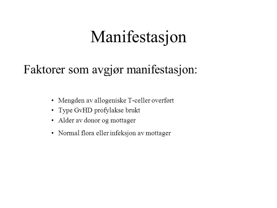 Manifestasjon Faktorer som avgjør manifestasjon: