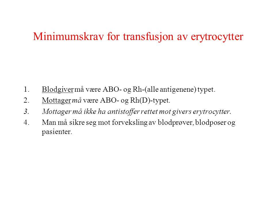 Minimumskrav for transfusjon av erytrocytter