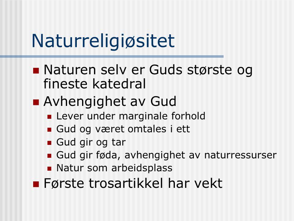 Naturreligiøsitet Naturen selv er Guds største og fineste katedral
