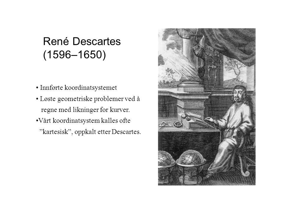 René Descartes (1596–1650) Innførte koordinatsystemet