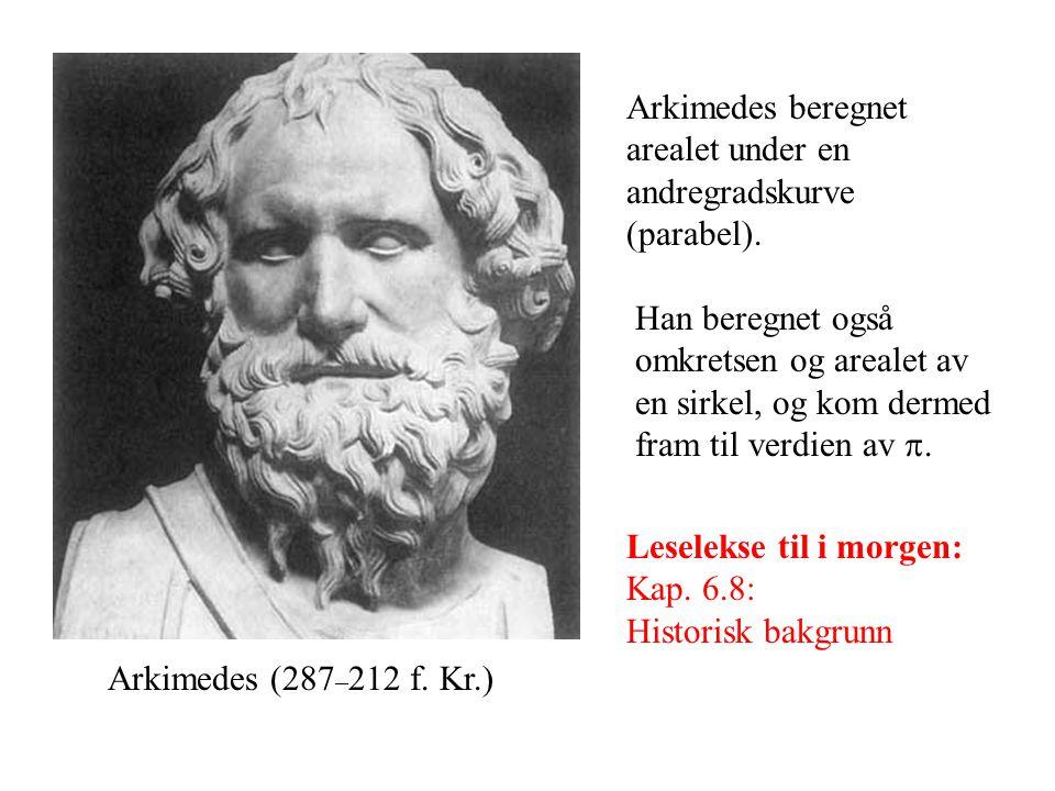 Arkimedes beregnet arealet under en andregradskurve (parabel).