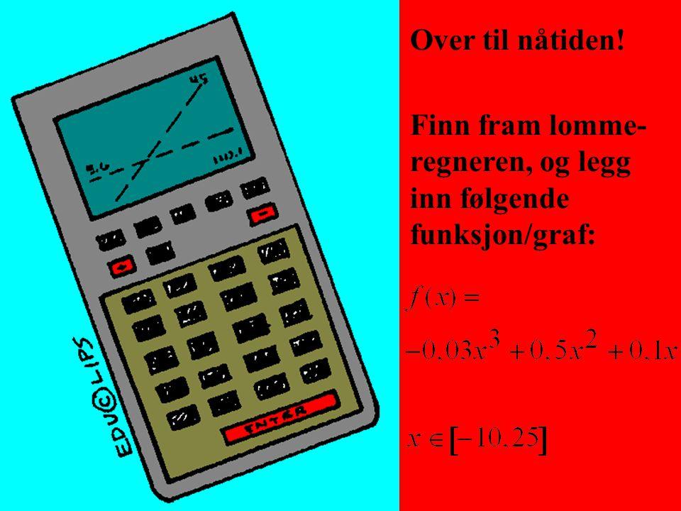 Over til nåtiden! Finn fram lomme-regneren, og legg inn følgende funksjon/graf: