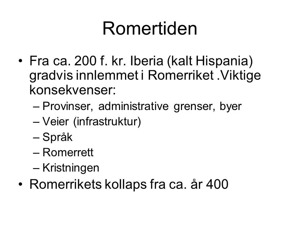 Romertiden Fra ca. 200 f. kr. Iberia (kalt Hispania) gradvis innlemmet i Romerriket .Viktige konsekvenser: