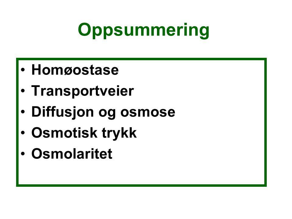Oppsummering Homøostase Transportveier Diffusjon og osmose