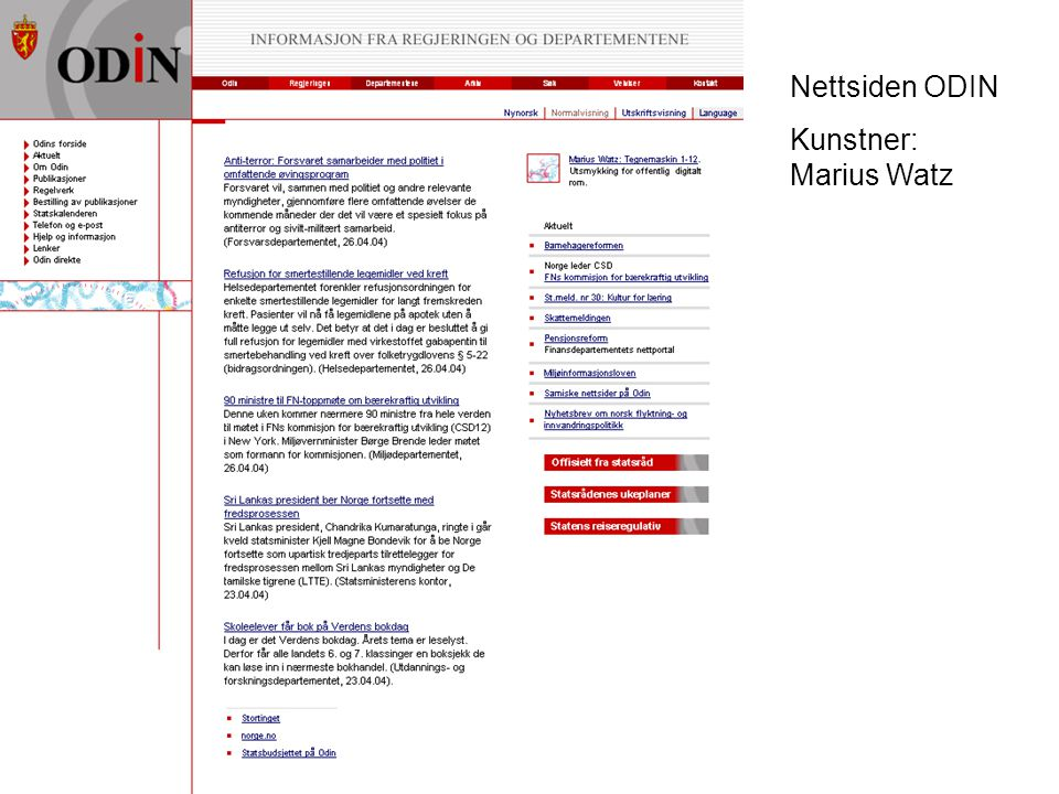 Nettsiden ODIN Kunstner: Marius Watz