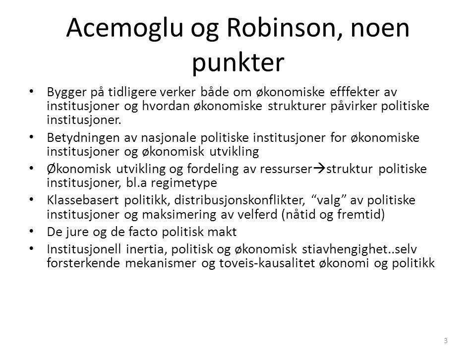 Acemoglu og Robinson, noen punkter