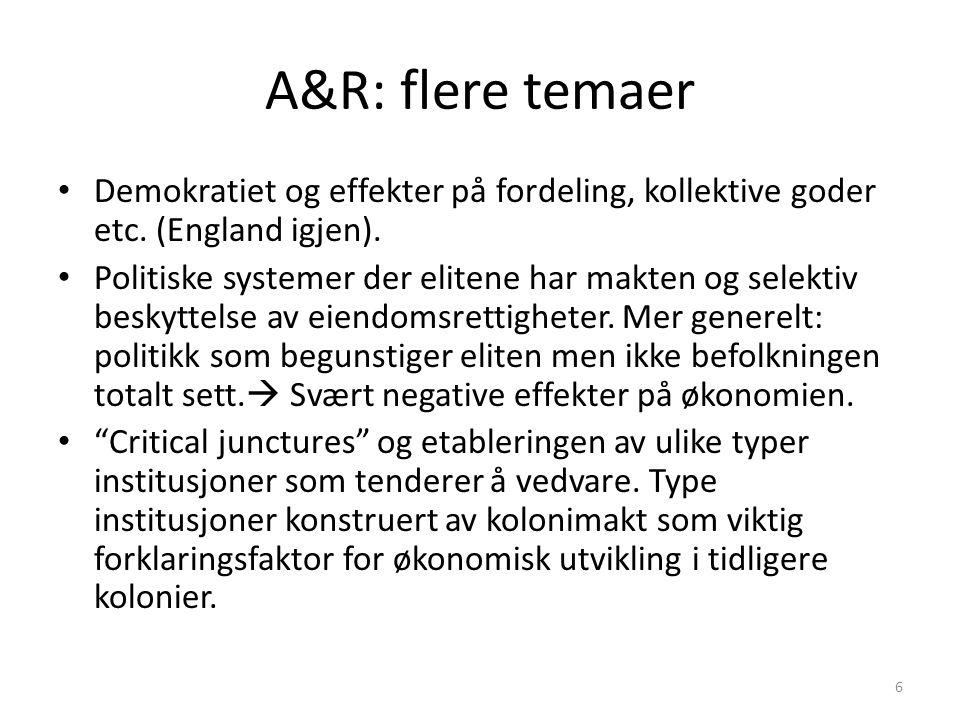 A&R: flere temaer Demokratiet og effekter på fordeling, kollektive goder etc. (England igjen).