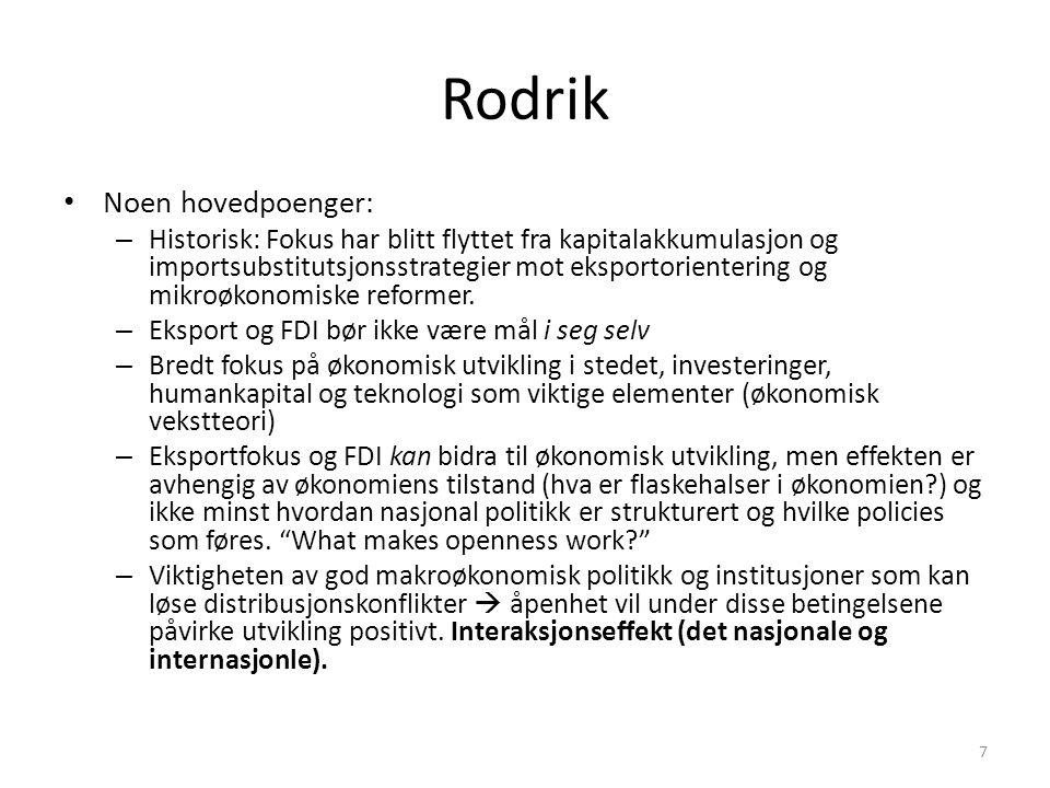 Rodrik Noen hovedpoenger: