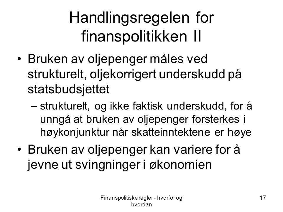 Handlingsregelen for finanspolitikken II