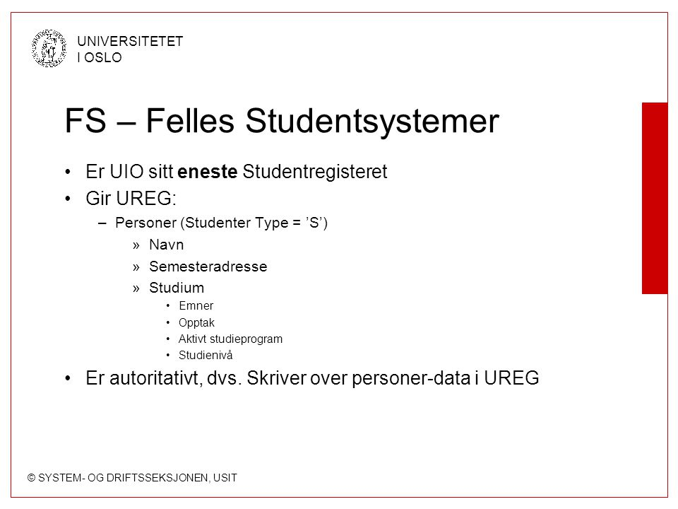 FS – Felles Studentsystemer