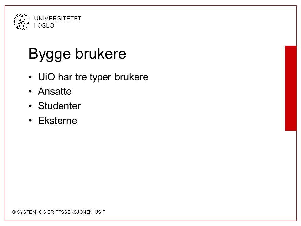 Bygge brukere UiO har tre typer brukere Ansatte Studenter Eksterne