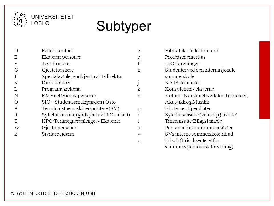 Subtyper D Felles-kontoer E Eksterne personer F Test-brukere