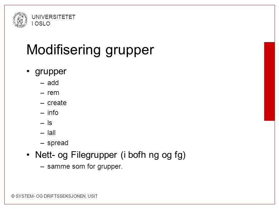 Modifisering grupper grupper Nett- og Filegrupper (i bofh ng og fg)