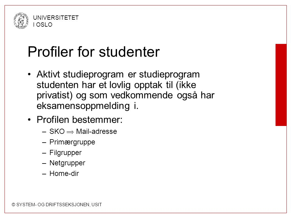 Profiler for studenter