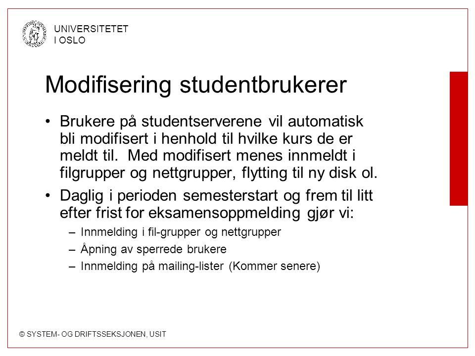 Modifisering studentbrukerer