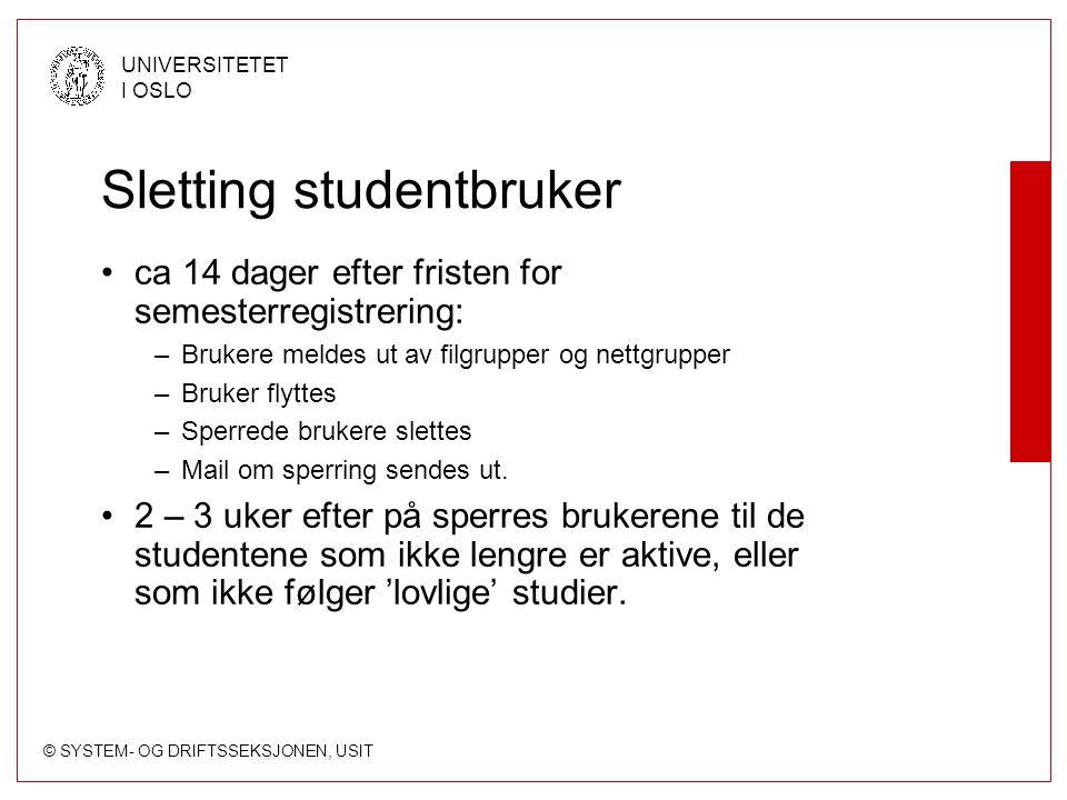 Sletting studentbruker