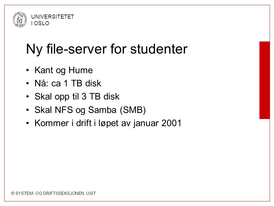 Ny file-server for studenter