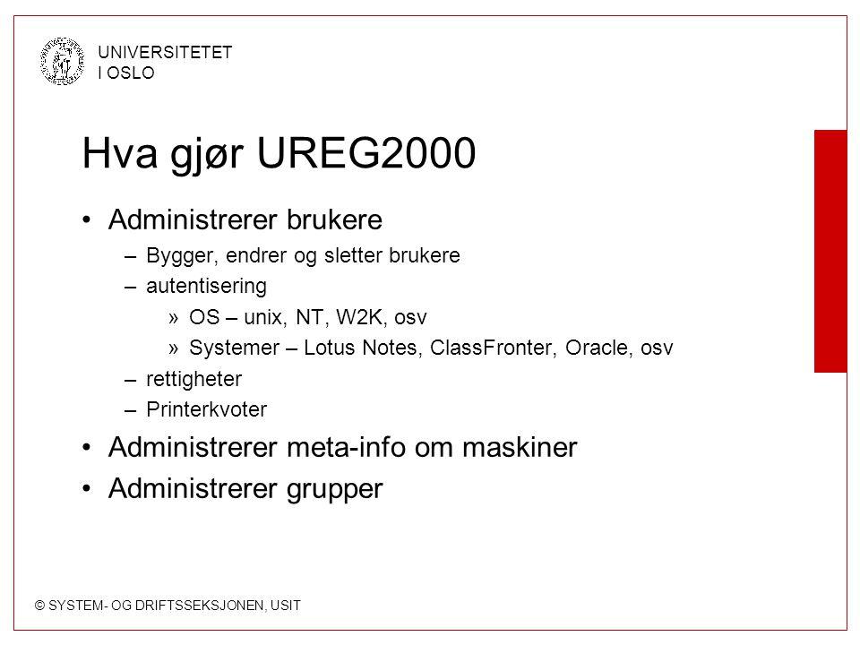 Hva gjør UREG2000 Administrerer brukere