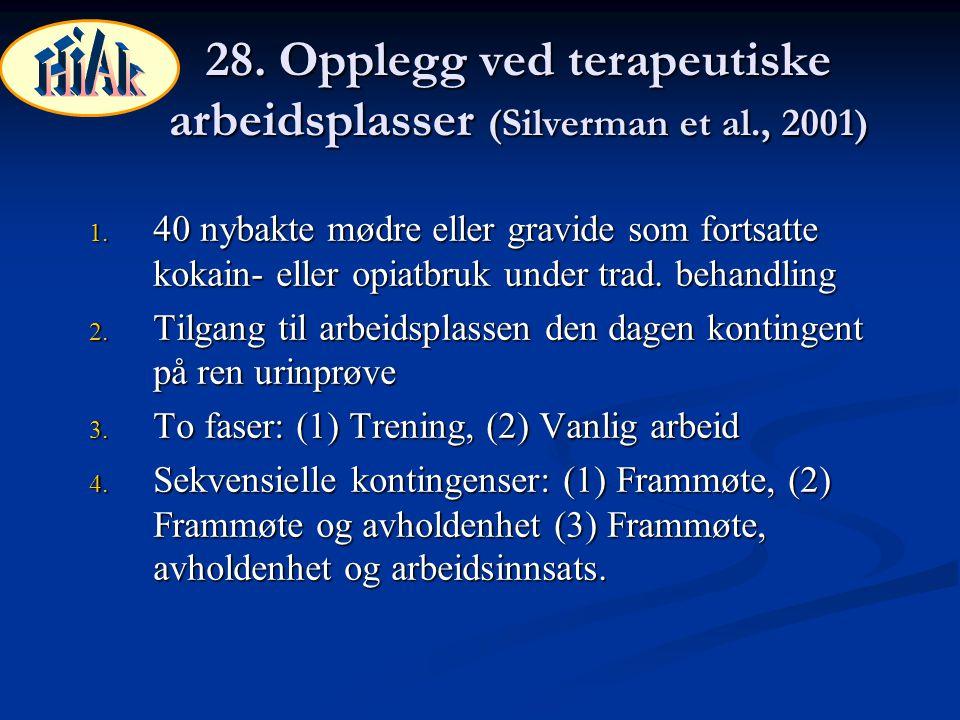 28. Opplegg ved terapeutiske arbeidsplasser (Silverman et al., 2001)