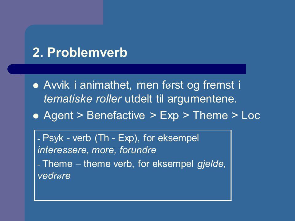 2. Problemverb Avvik i animathet, men først og fremst i tematiske roller utdelt til argumentene. Agent > Benefactive > Exp > Theme > Loc.