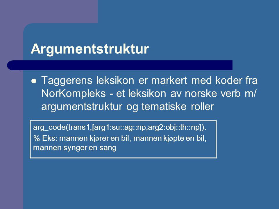 Argumentstruktur Taggerens leksikon er markert med koder fra NorKompleks - et leksikon av norske verb m/ argumentstruktur og tematiske roller.