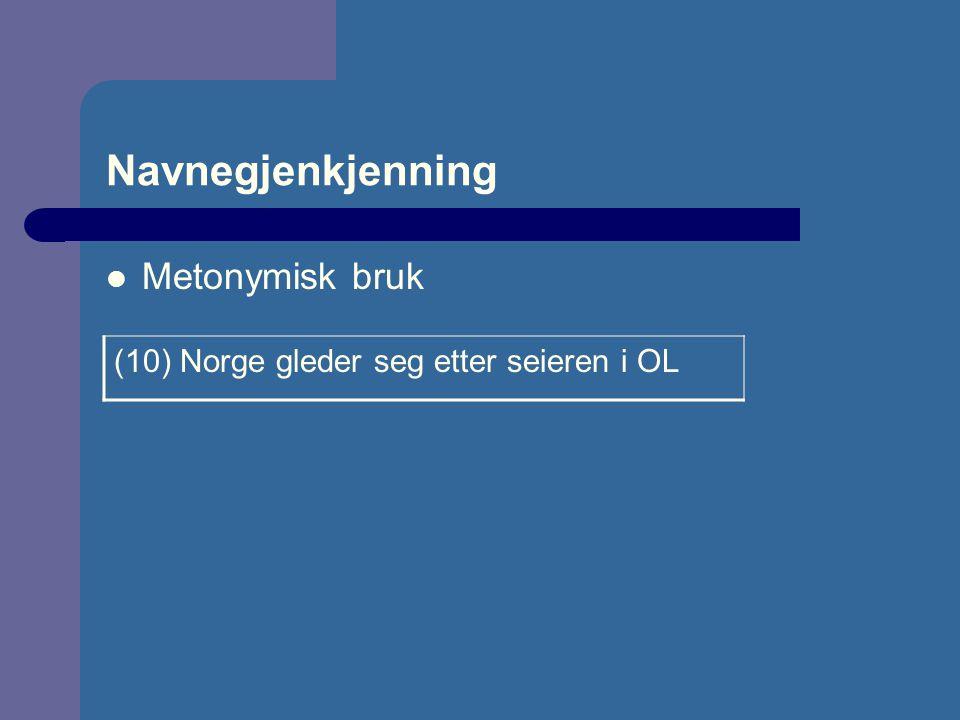 Navnegjenkjenning Metonymisk bruk