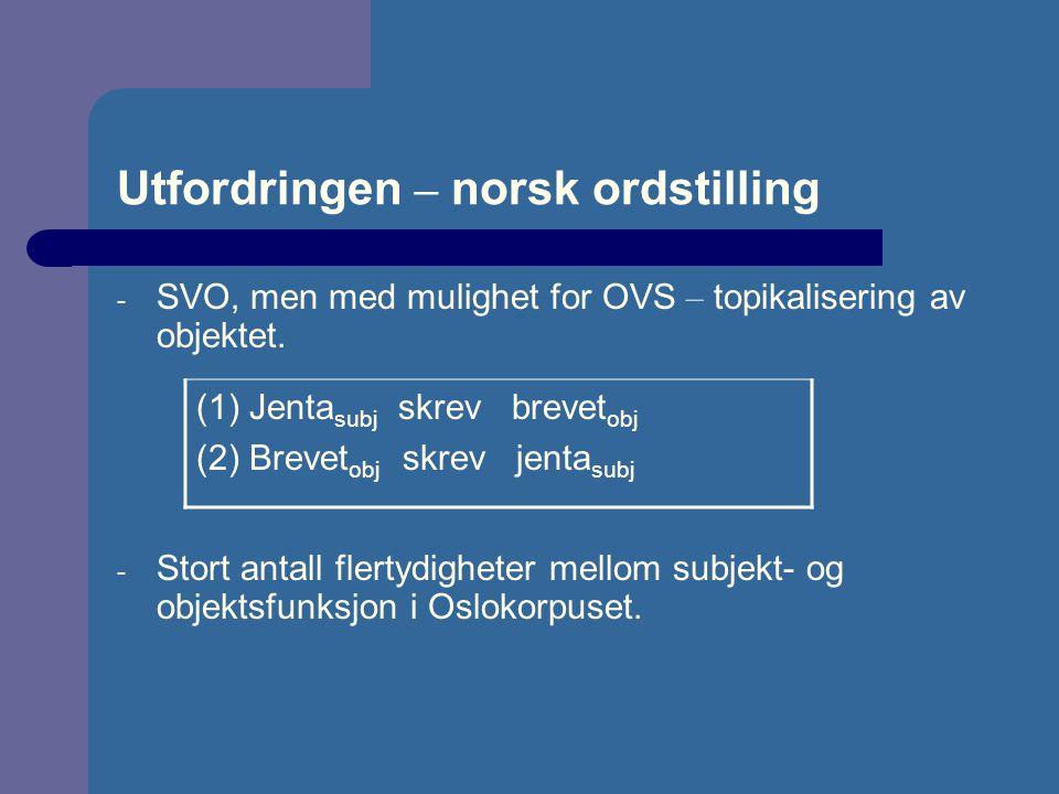 Utfordringen – norsk ordstilling