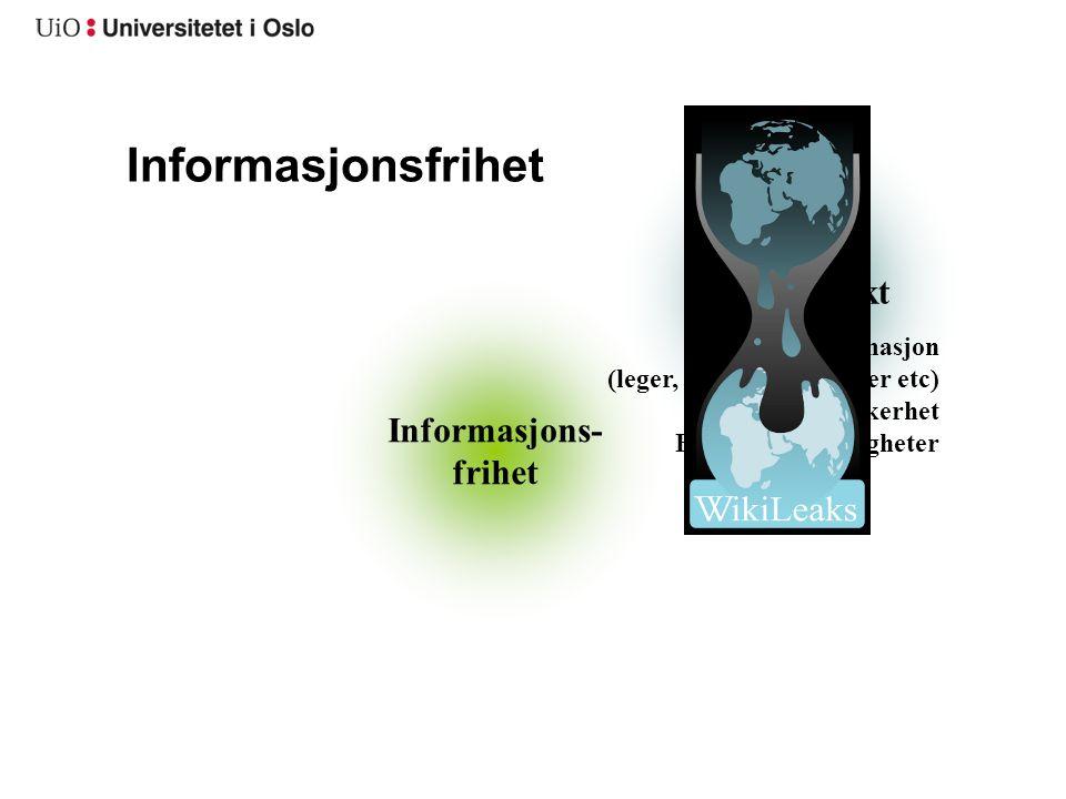Informasjonsfrihet Taushetsplikt Informasjons- frihet