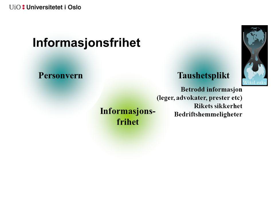 Informasjonsfrihet Personvern Taushetsplikt Informasjons- frihet
