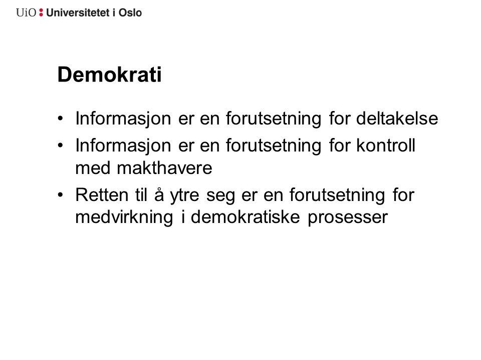 Demokrati Informasjon er en forutsetning for deltakelse