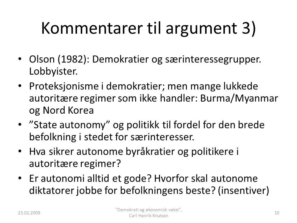 Kommentarer til argument 3)