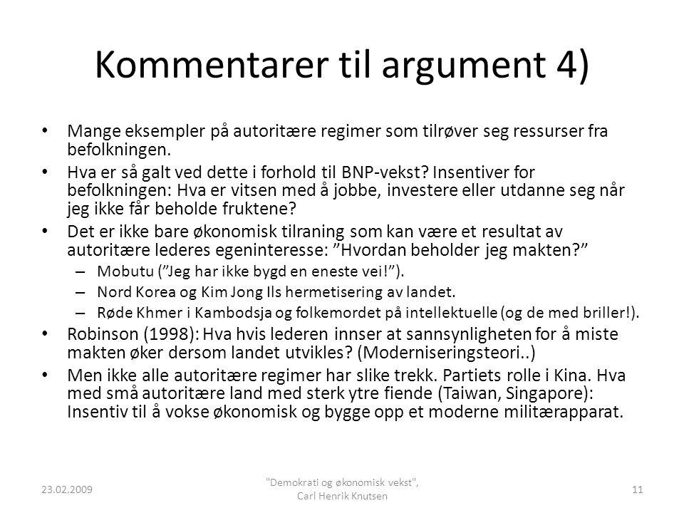 Kommentarer til argument 4)