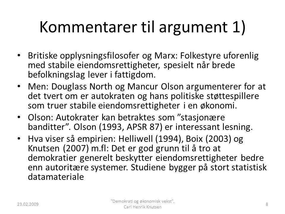 Kommentarer til argument 1)